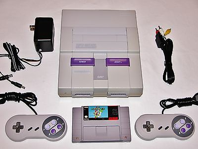 Consola de Super NES ensamblada en Brasil y distribuida en América, junto con todos estos accesorios