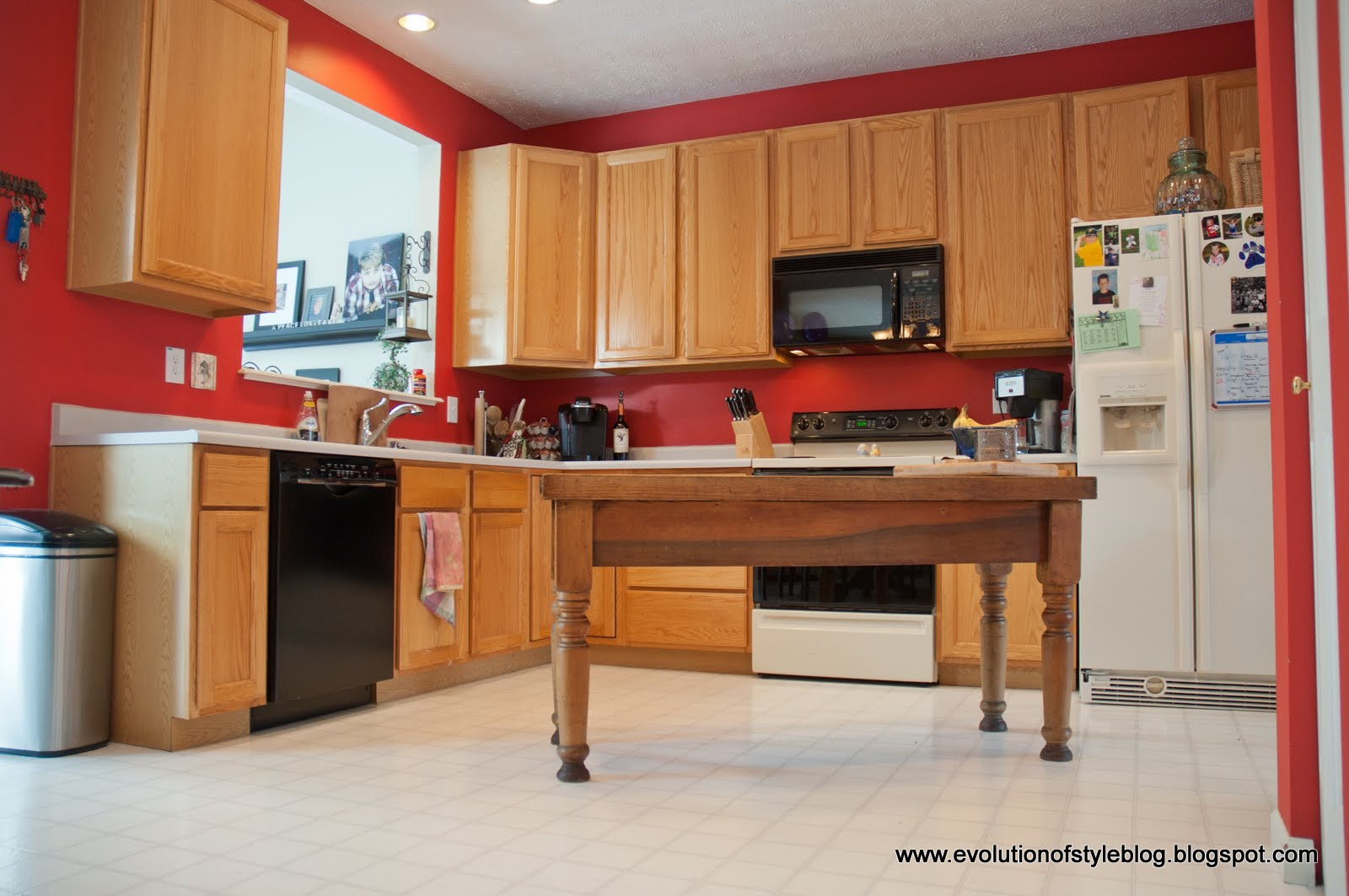 Oak Kitchen Reveal: From Builder Grade to Custom Made - Evolution of on red painted tile, red painted doors, red painted kitchen cabinet colors, red painted dining room, red painted kitchen island, red painted bedroom, red painted windows, red painted refrigerator, red painted hardwood floors,