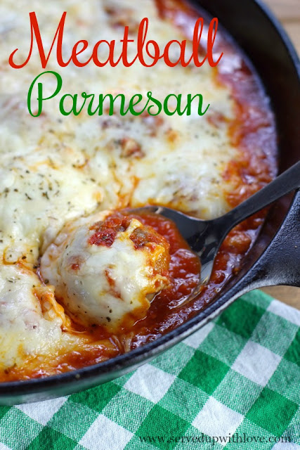 Baked Meatball Parmesan recipe at Served Up With Love is made with just 5 ingredients and one pan! Its cheesy, saucy, goodness is perfect for any night of the week.