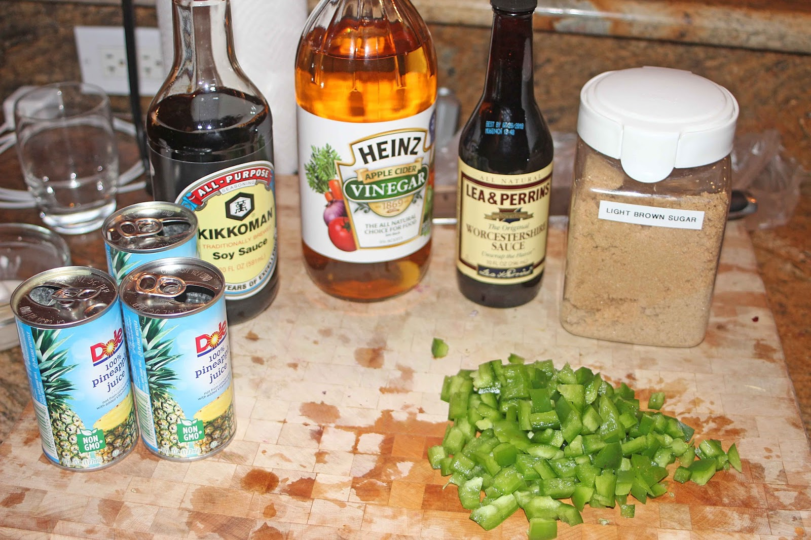 For The Sauce Pineapple Juice Soy Sauce Cider Vinegar Worcestershire Sauce Brown Sugar And Diced Green Bell Pepper