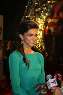 Deepika in backless green gown