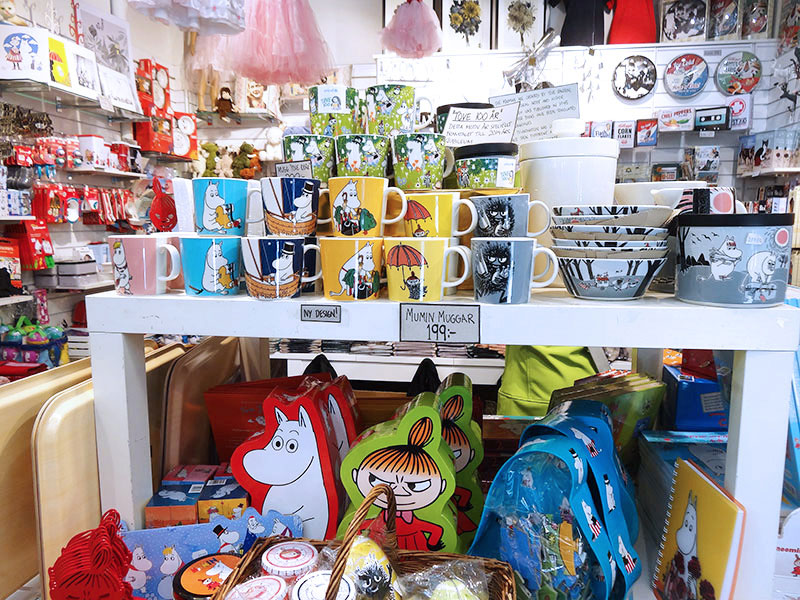 The famous Moomin and his friends collection in a souvenir shop