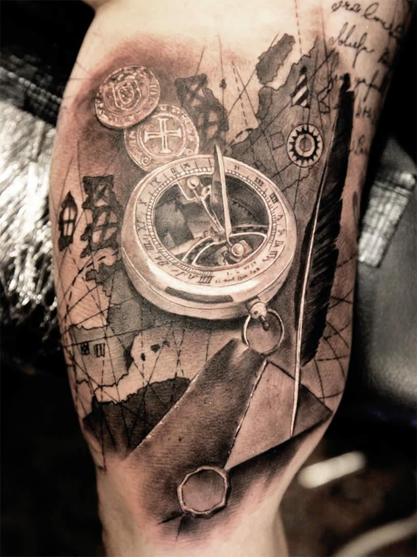 tattoo compass tattoos pocket amazing map sleeve designs clock miguel bohigues liberty awesome pasqualin matteo tatoos statue google shot scene360