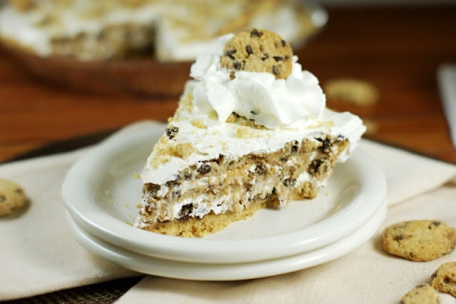 Four simple ingredients come together to create one delicious No-Bake Chocolate Chip Cookie Pie.  And you won't believe how easy it is!