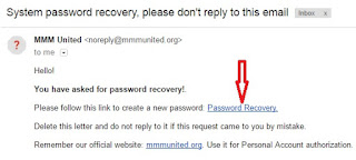 MMMunited password recovery mail