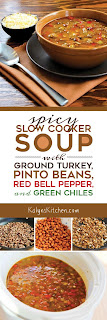 Spicy Slow Cooker soup with Ground Turkey, Pinto Beans, Red Bell Pepper, and Green Chiles [found on KalynsKitchen.com]