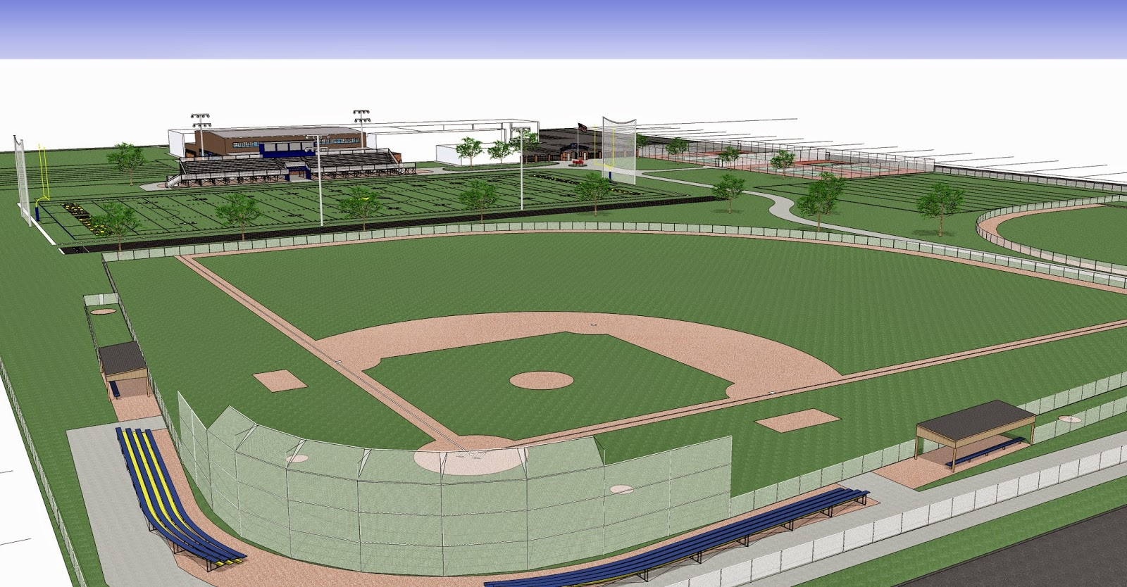 In a design phase to make some layout changes to the athletic fields and bring the building design up to current building and energy codes