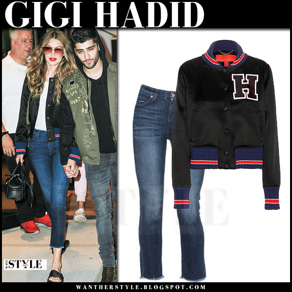Gigi Hadid in black satin varsity tommy hilfiger jacket and cropped jeans 7 for all mankind what she wore streetstyle