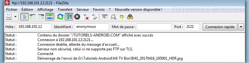 Configurer filezilla : transférer fichiers vers Android via WiFi