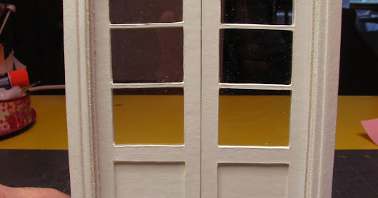 1 INCH SCALE FRENCH DOORS MADE FROM MAT BOARD - How to make dollhouse French Doors from Mat Board.