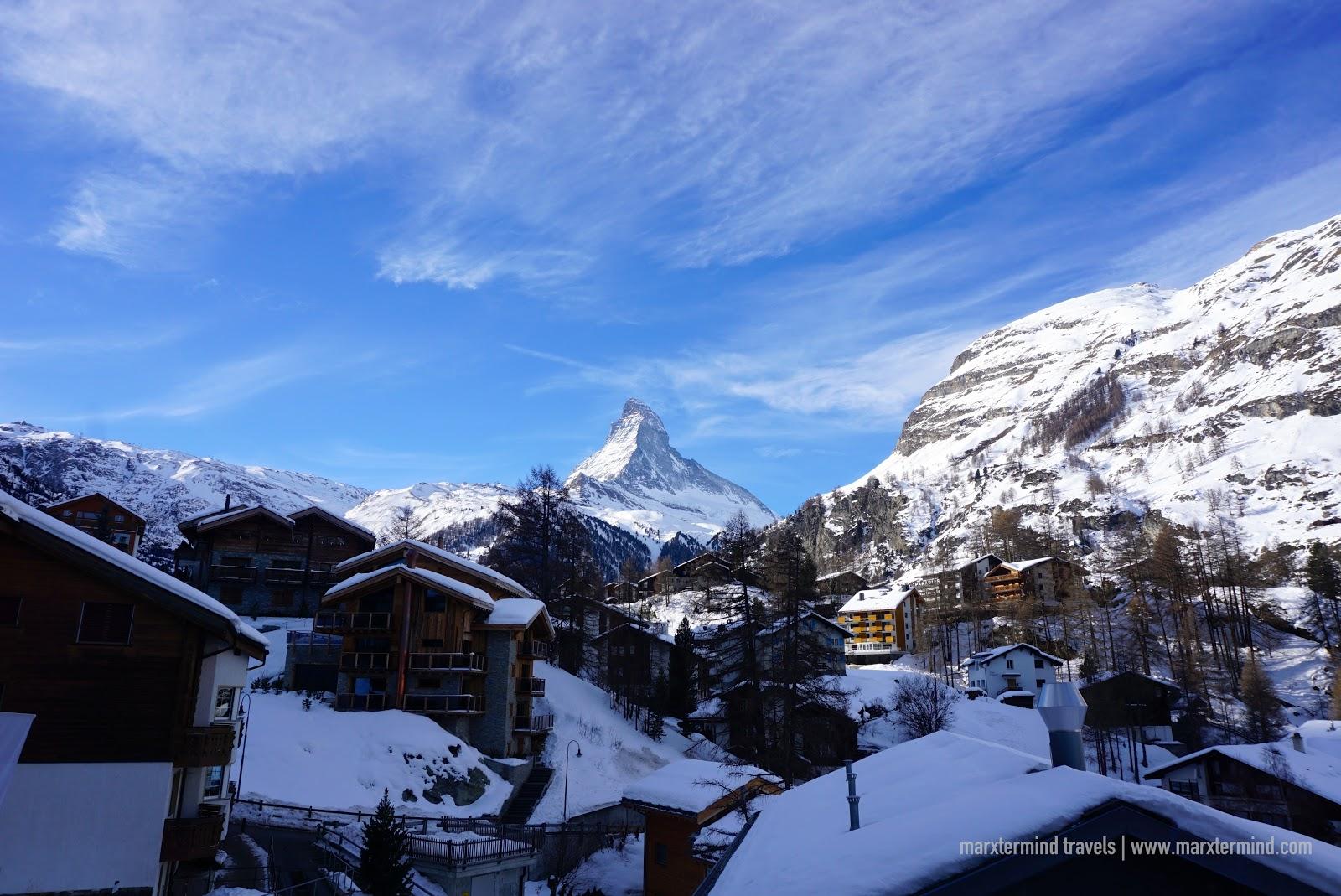 View of the Matterhorn from Zermatt Youth Hostel
