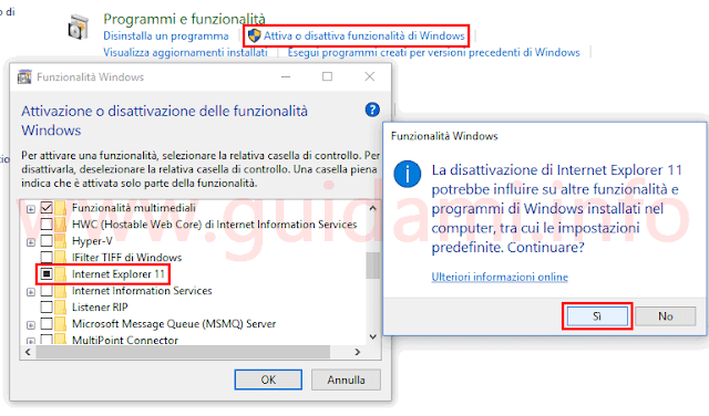 Pannello di controllo Windows disinstallare Internet Explorer