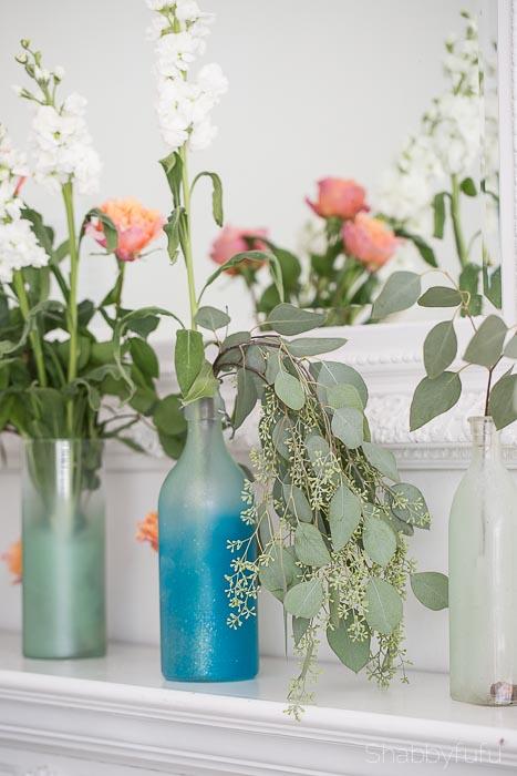 eucalyptus in jars coastal beach decorating