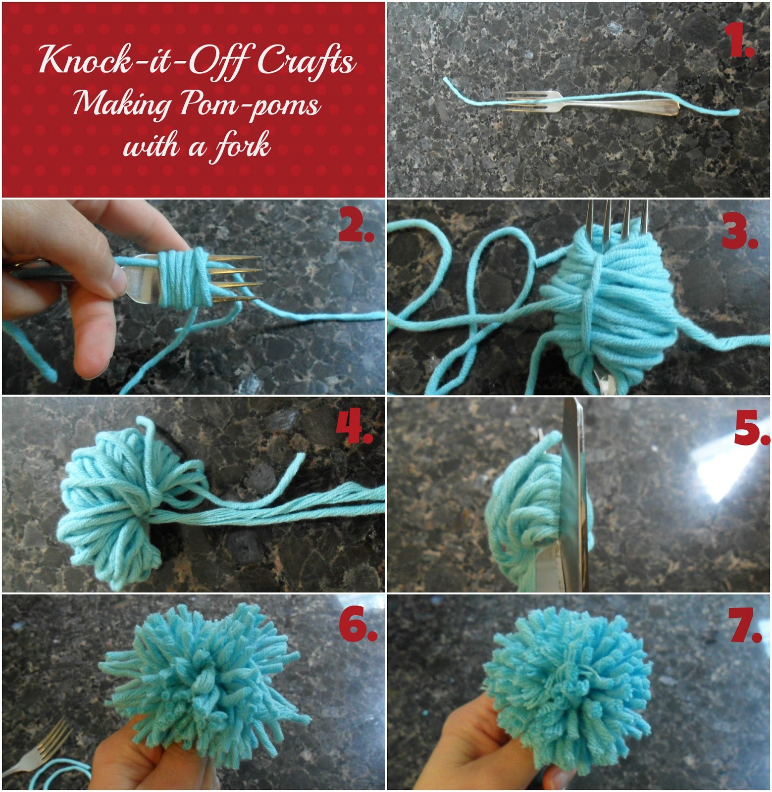 7c481076a31 Cut a piece of yarn approximately 6″ long – this piece will be used to both  secure the pom-pom and also to attach the pom-pom to the duvet.