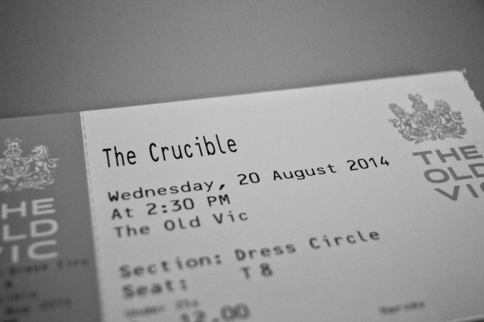 ticket for the crucible at the old vic