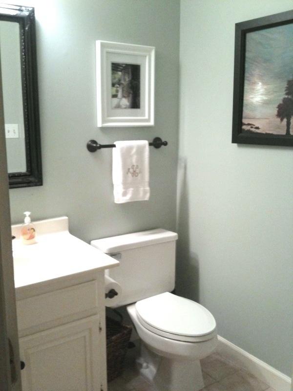 Blue Half Bathroom: The Houston House: A Half Bath- Finished