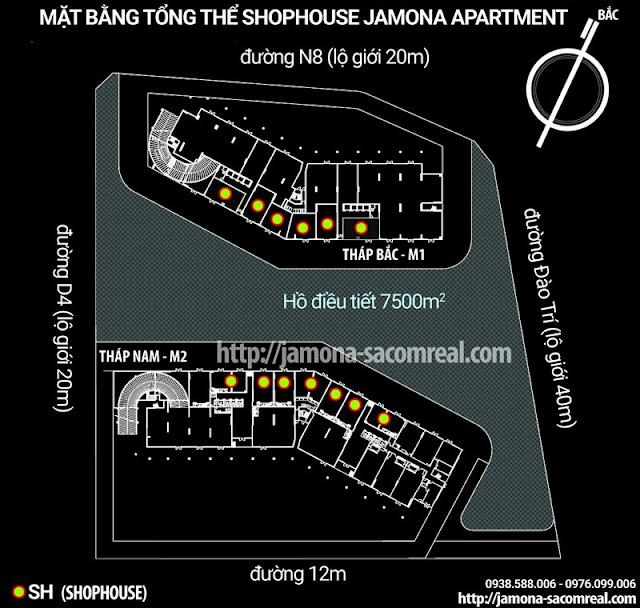 Mặt bằng tổng thể Shophouse - căn shop thương mại Jamona Apartment