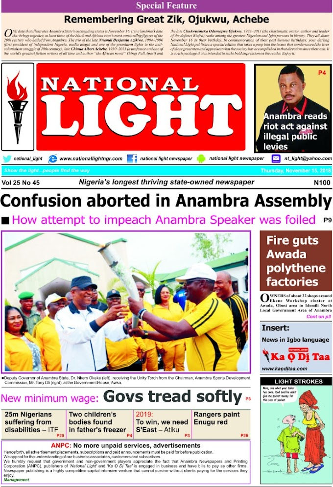 Cover and back pages of National Light, newspapers, out today, Thursday, November 15, 2018 on news stands.