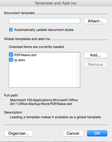 Word templates and how to update them (Microsoft Word for