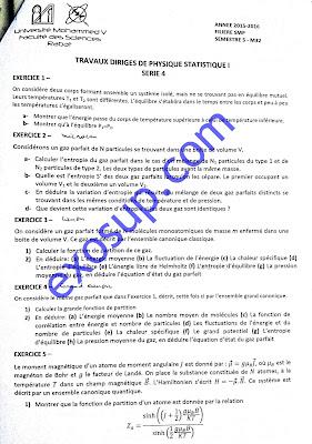 exercices TD corrigés solution physique statistique I smp s5 FS Rabat