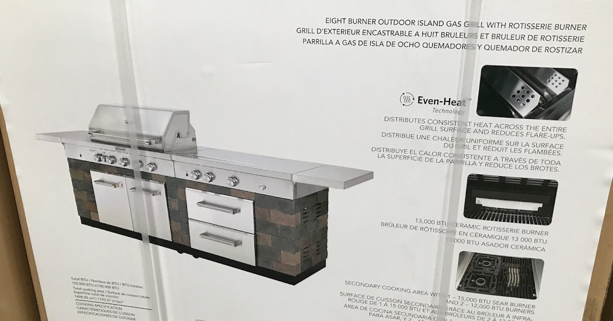 Kitchenaid Eight Burner Outdoor Island Gas Grill With