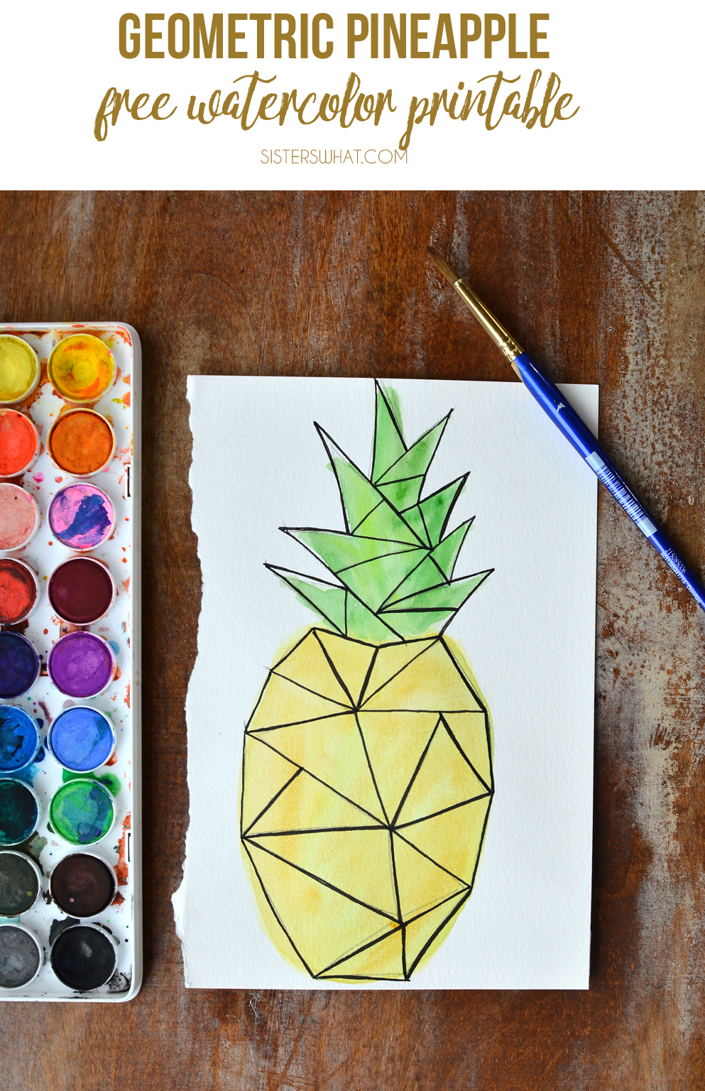 free watercolor pineapple 5x7 print or card