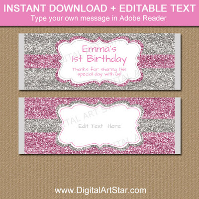 printable pink and silver glitter candy bar wrapper template for girl birthday party favors