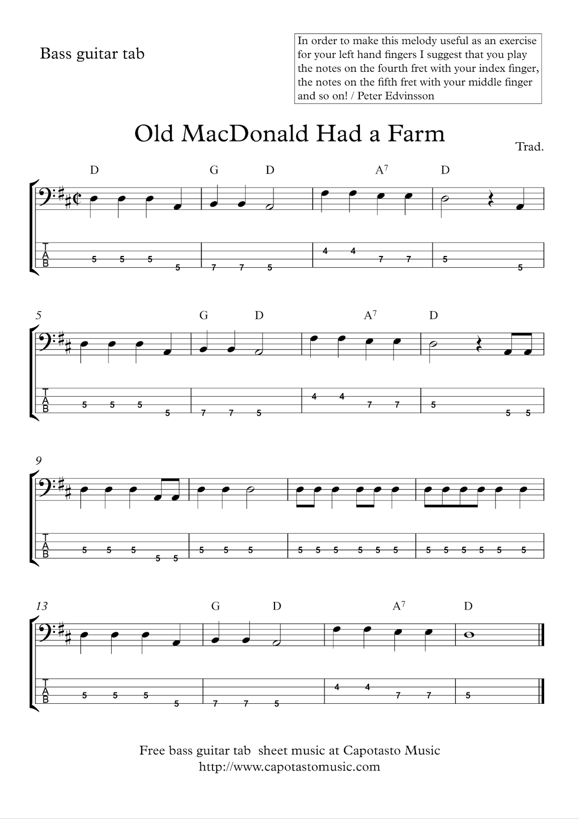 Free Easy Bass Tab Sheet Music