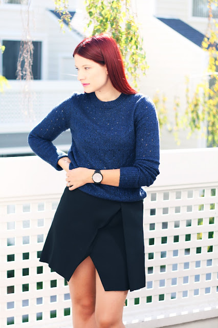 Black wrap skirt with navy sparkle knitwear