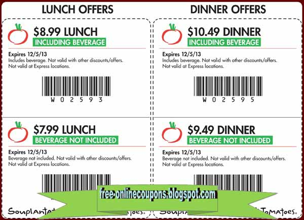 Save at your favorite restaurants with deals, promo codes and discounts. Get printable restaurant coupons and gift certificates at RetailMeNot.