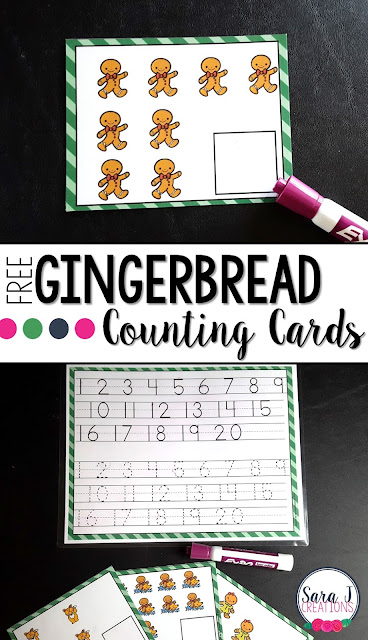 Free Gingerbread man themed write and wipe counting cards for numbers 1-20
