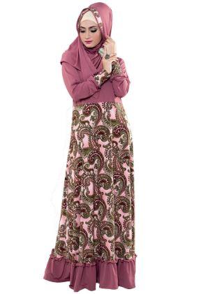 Gamis batik kombinasi panjang untuk pernikahan