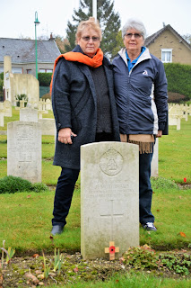 Margaret and Jenny, John McDonald's granddaughters, at his grave in France, photo from Joan and Vincent Procter