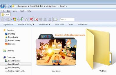 Mengganti icon folder dengan tampilan One Piece