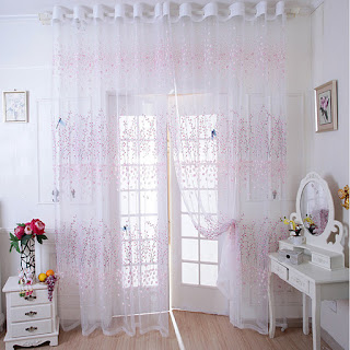 Lovely Pretty Plum Blossom Pattern Sheer Curtain
