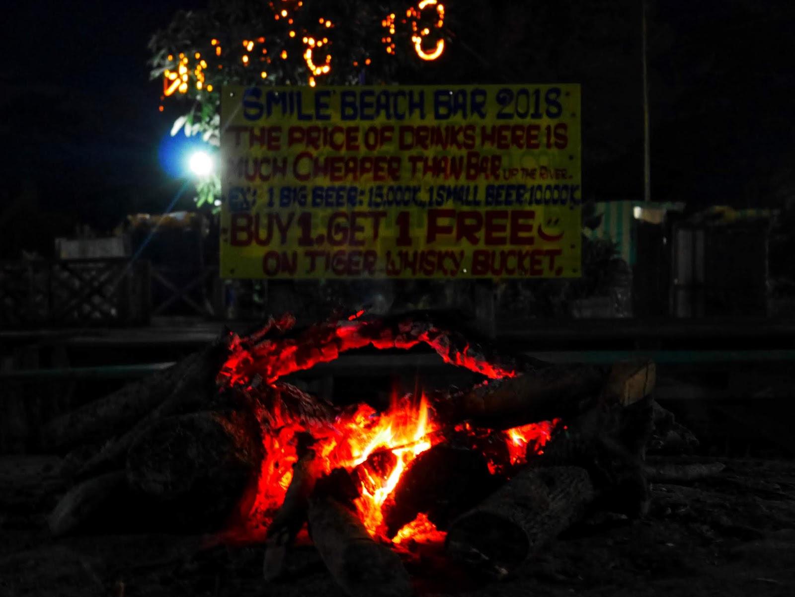 bonfire at Smile Beach Bar, Vang Vieng, Laos