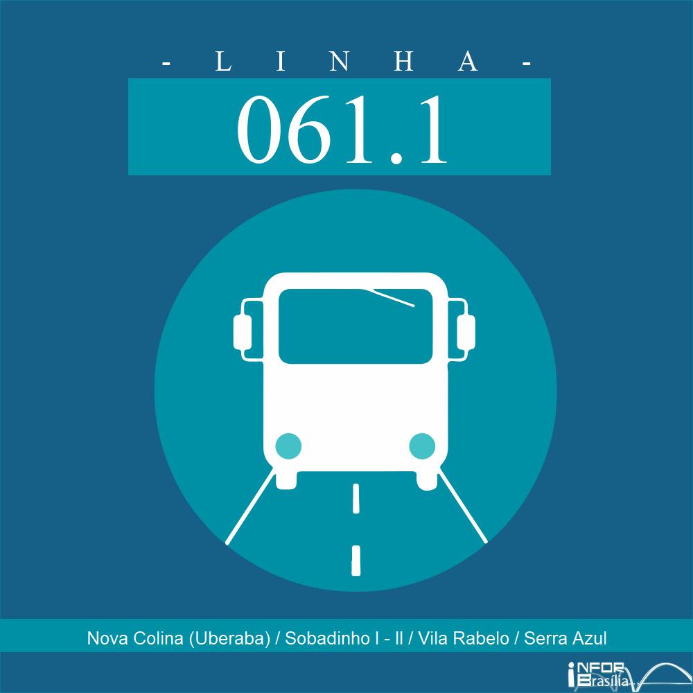 Horário de ônibus e itinerário 061.1 - Nova Colina (Uberaba) / Sobadinho I - II / Vila Rabelo / Serra Azul