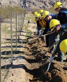 Team Rubicon students learn proper hand tool/line digging techniques.
