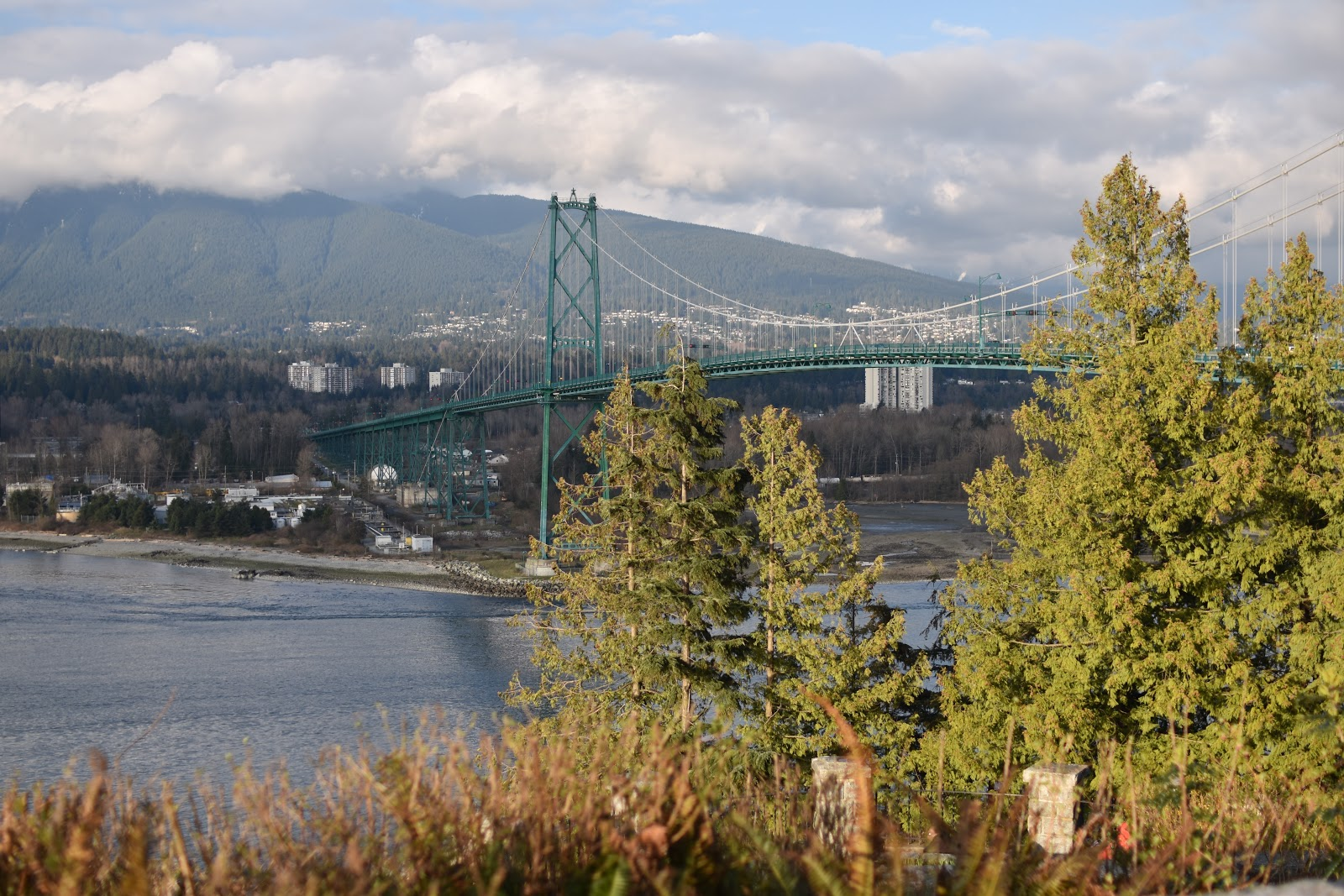 View of the Lions Gate Bridge and Burrard Inlet, Vancouver, BC, Canada