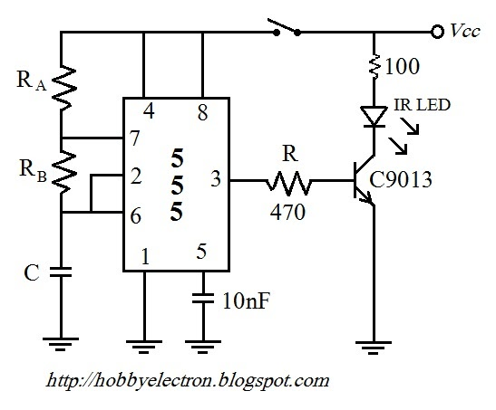 Remote Control Circuit using NE555 & LM567 ~Circuit diagram