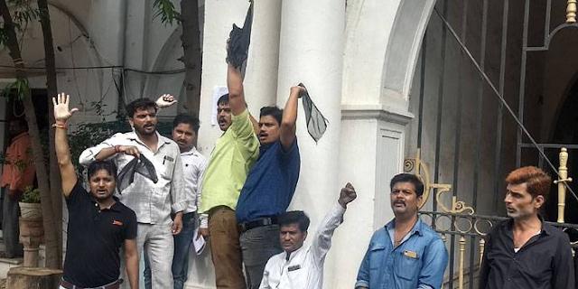 GWALIOR: कांग्रेस को काले झंडे दिखाए, गांधी-सिंधिया के पोस्टर पर काला कपड़ा डाला | MP NEWS