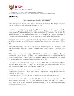 BKN Ajukan Usulan Kenaikan Gaji PNS 2019
