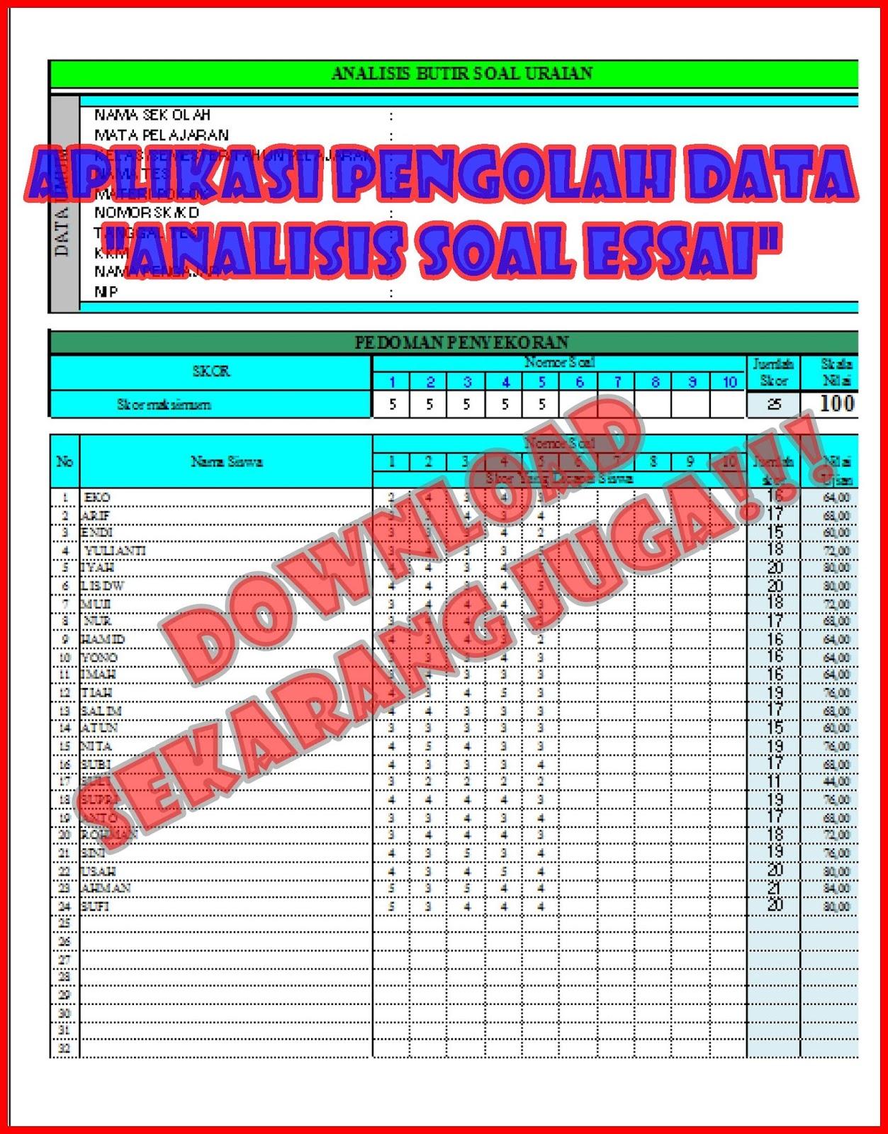Analisis Soal Uraian : analisis, uraian, Aplikasi, Analisis, Butir, Uraian, Essay, Berbasis, Excel, Foldersoal
