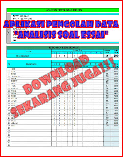 Free Download Gratis Analisis Butir Soal Essay.xls