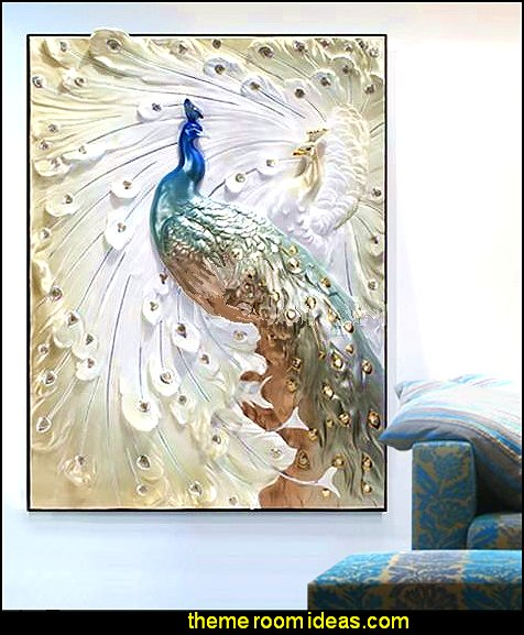 Peacock theme decorating - peacock theme decor - exotic style decorating - Peacock Decorations - Peacock Nursery - peacock wall decoration - peacock Christmas decorating - peacock color decor - peacock wallpaper - peacock bedding - life size peacock decorations - Peacock feather