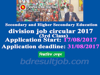 Secondary and Higher Secondary Education division 3rd class job circular 2017