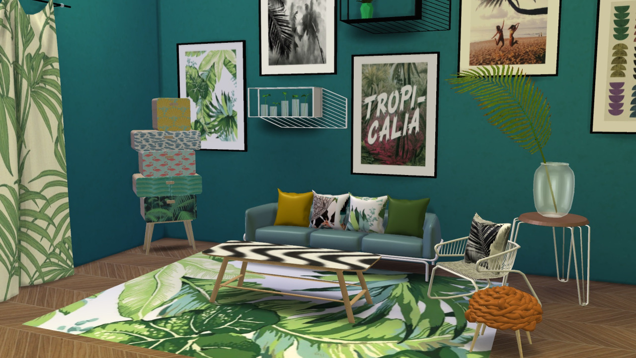 My sims 4 blog urban jungle living set by meinkatz creations for Decoration urban jungle