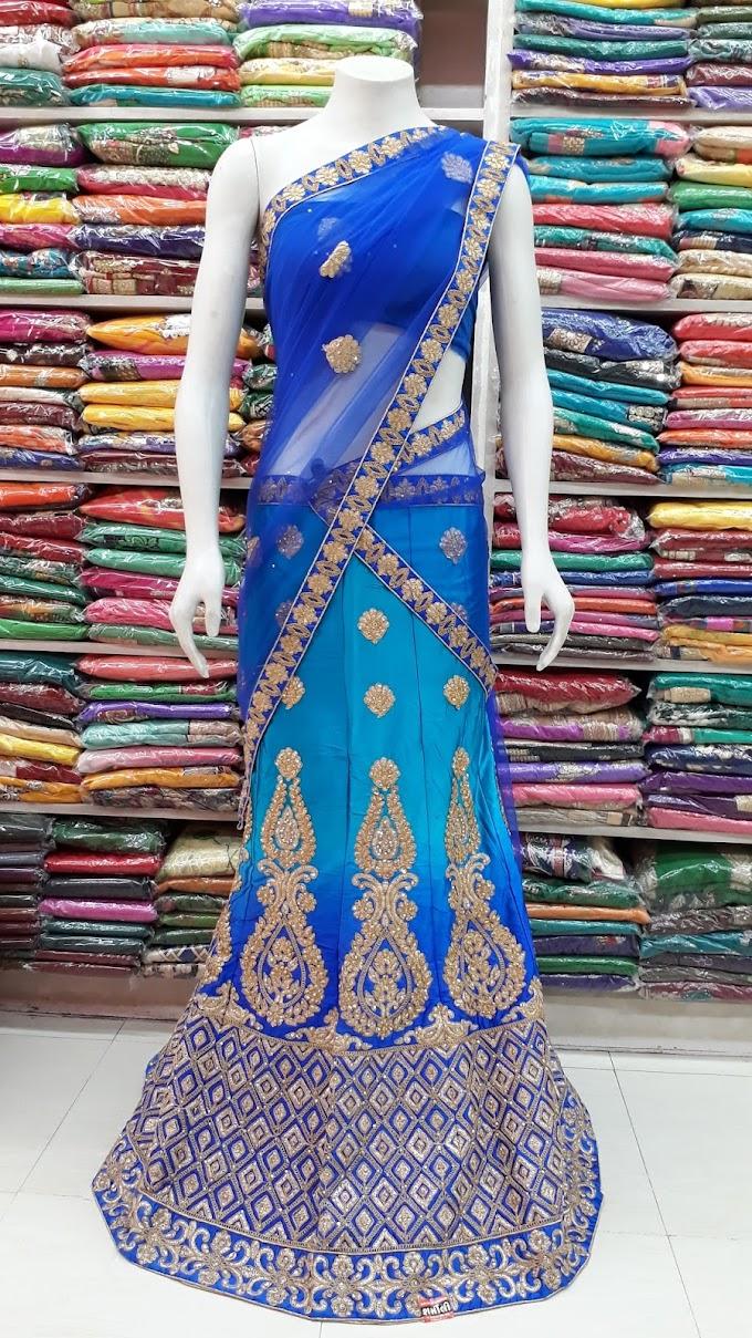 Blue Color net fabric golden work Wedding Lehenga with net border dupatta
