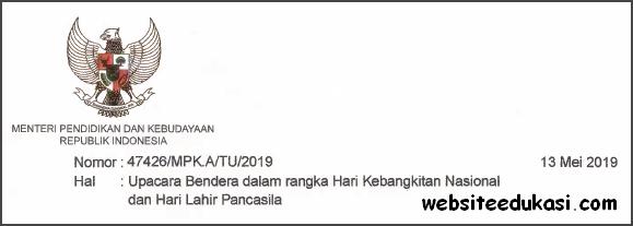 Surat Edaran Pelaksanaan Upacara Harkitnas dan Hari Lahir Pancasila 2019