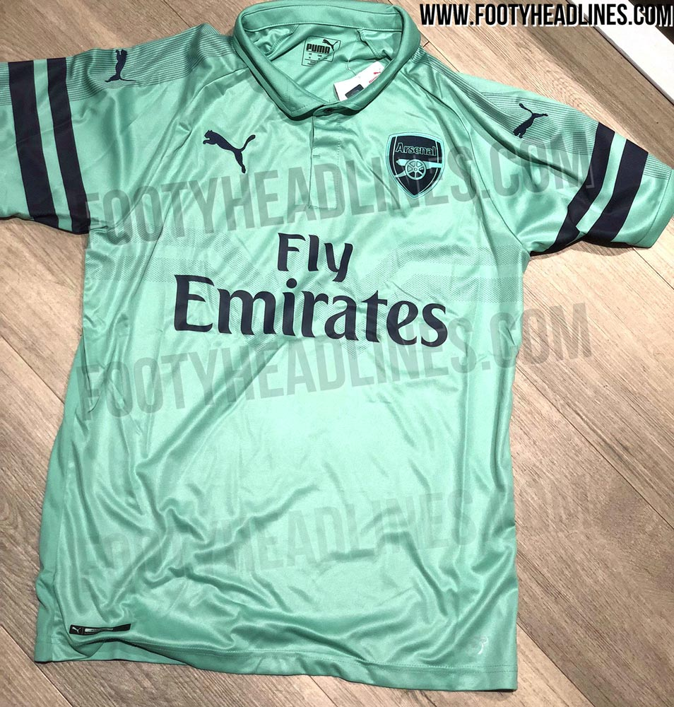 9f302b264d2 After last year's third kit introduced a stealth / pink look, the new Arsenal  18-19 third kit combines the main color turquoise ('Biscay Green') with  navy ...